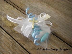 boite à dragées communion bleu turquoise