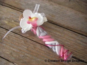 dragées mariage éprouvette orchidée