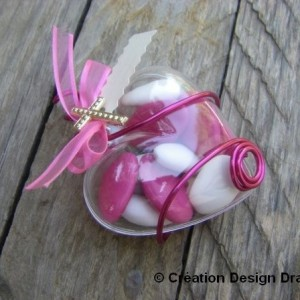 Coeur communion fuschia