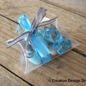 Boite ourson gris turquoise