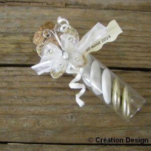 éprouvette papillon or blanc